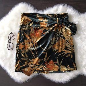 Zara Floral Velvet Draped Mini Skirt